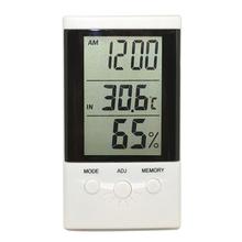 Lcd interior exterior Digital termómetro higrómetro temperatura humedad medidor reloj