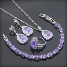 Purple Created Amethyst White CZ 925 Sterling Silver Jewelry Sets For Women Earrings/Pendant/Necklace/Rings/Bracelet Free Box(China (Mainland))