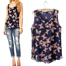 Hot Sale Women's Butterfly Print Summer Chiffon Blouse Sleeveless Shirt Fresh Vest TopTank Retail/Wholesale  5AWL 7FDL 9KO4(China (Mainland))