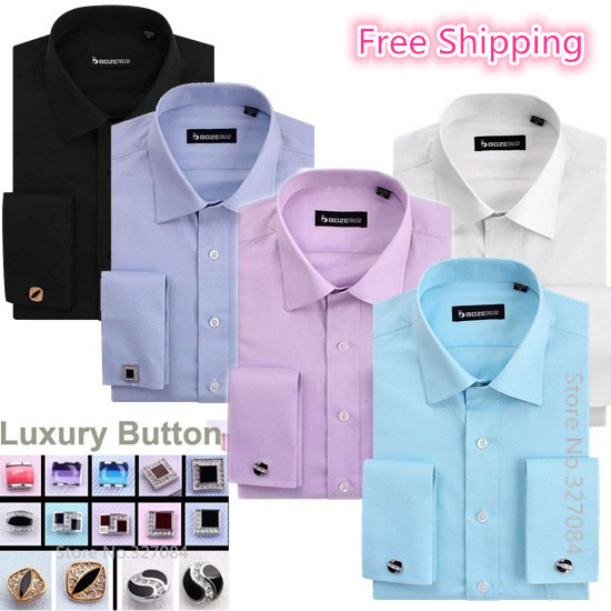 High Quality French Cuff Button Dress Shirt 2015 Fashion Formal Slim Fit Long Sleeve Cufflinks Shirts White Collar Kingsman(China (Mainland))