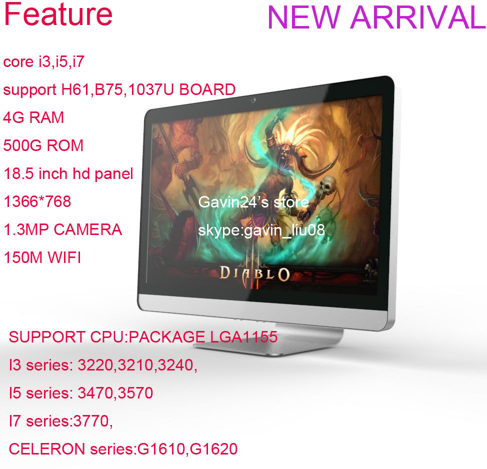 """18.5"""" Intel core i3 3240 3.4GHZ All-in-one PC Windows 7 4GB/ 500GB desktop computer all in one pc(China (Mainland))"""
