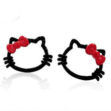 Wholesale Prices Black Color Trendy Cat Hello Kitty Red Bow Stud Earrings For women Fashion Jewelry(China (Mainland))