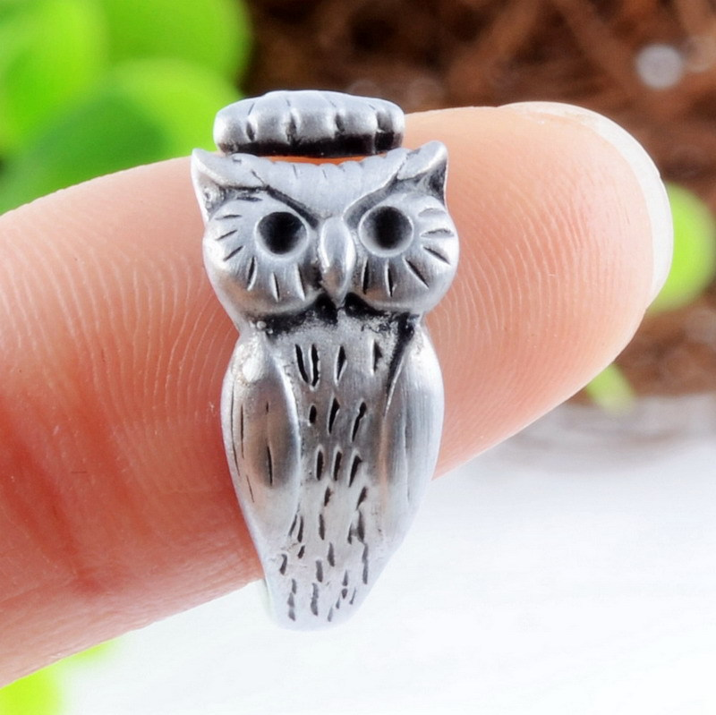 New Arrivel Animal Rings Gold Plated And Sliver Plated Adjustable Night Owl Rings(China (Mainland))
