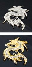 shiny crystal dragon 3D golden slivery metal car sticker auto parts automobile accessory  Wholesale