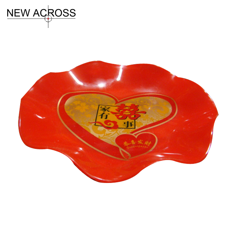 Gohide 1pcs Red Plastic Plate Corrugated Fruit Plate Compotier Red Fruit Plate Dried Decoration Fruit Plate Wedding Supplies(China (Mainland))