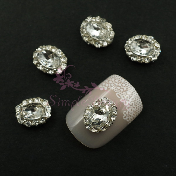 2 9X7MM Bling Clear Crystal Rhinestones Oval Design Silver Plated Alloy Nail Art Charms Jewelry Crafts DIY Decorations - Simple Beauty store