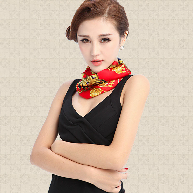 Top Gradel Women's Square 100% Mulberry Silk Scarf Hot Sale Wraps Scarves Print Pattern Scarf 55*55cm6 Color SCWJ06(China (Mainland))