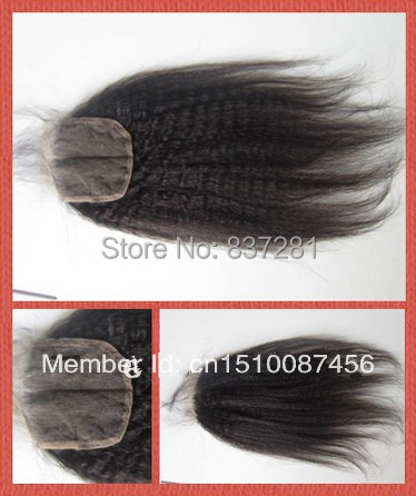kinky straight 100% virgin brazilian human discount hair 4X4 cheap lace closure - Flower factory store