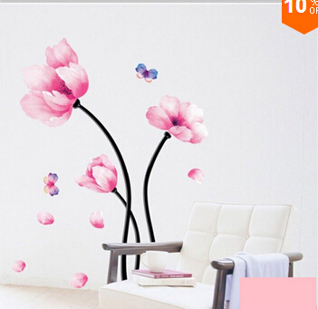2015 Top fashion simple nature style DIYflower Wall sticker home decor furniture living room TV background and free shipping(China (Mainland))