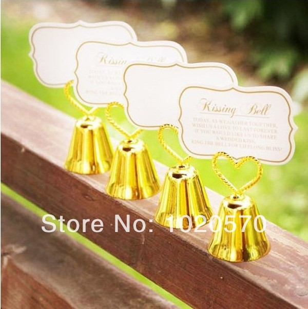 """Heart Topped """"Kissing Bell"""" Place Card & Photo Holders for Wedding Personalized Party Gifts Supplies 100 pcs/lot Free shipping(China (Mainland))"""