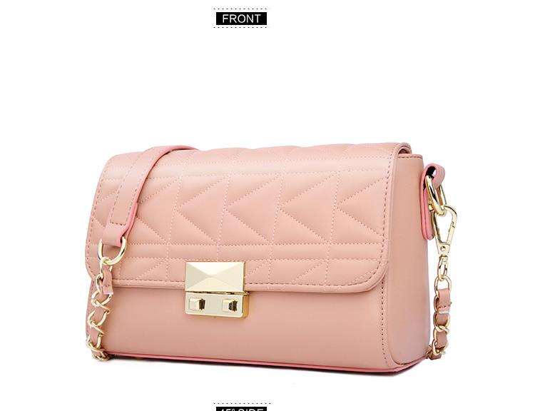 Famous Brand Designer Chain Bag 2016 New Geometric Plaid Shoulder Bag Japan Style Fashion Pink Black Bag Women PU Crossbody Bag