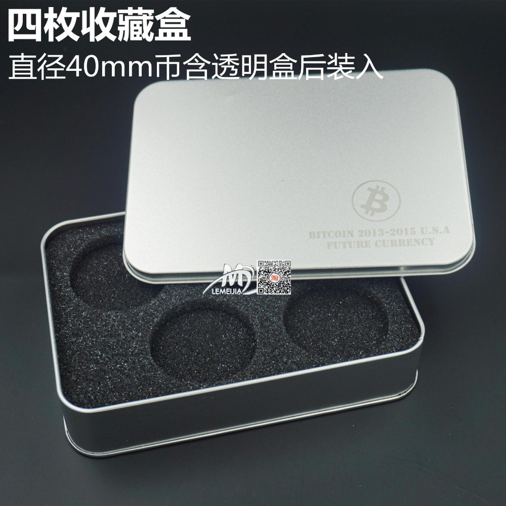 Free shipping Bitcoin containers 2 pcs high quality Tinplate 4coins box with sponge for 40*3 mm coins(China (Mainland))