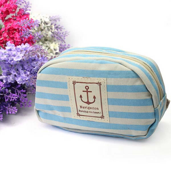 Navy Style Pencil Case Makeup Bag Cellphone Coin Storage Cosmetic Pouch Purse(China (Mainland))