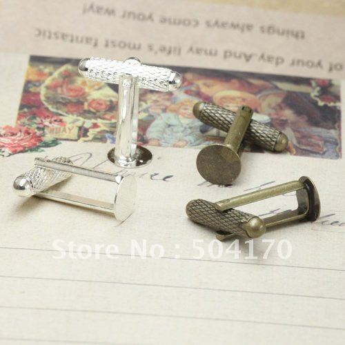 100pcs/lot 8m Plane Silver/Vintage Threaded Rod Sleeve Button Base CuffLinks Settings Jewelry Free Shipping<br><br>Aliexpress