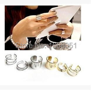 2016 Super deals jewelry store Shiny Punk Polish Gold Stack Plain Band Midi Mid Finger Knuckle Ring Set for women anel joias(China (Mainland))