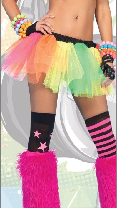 HOT SALE Neon Rainbow Tutu 4S7309 + Cheap price Women's sexy mini skirt +Free shipping women sexy accessories(China (Mainland))