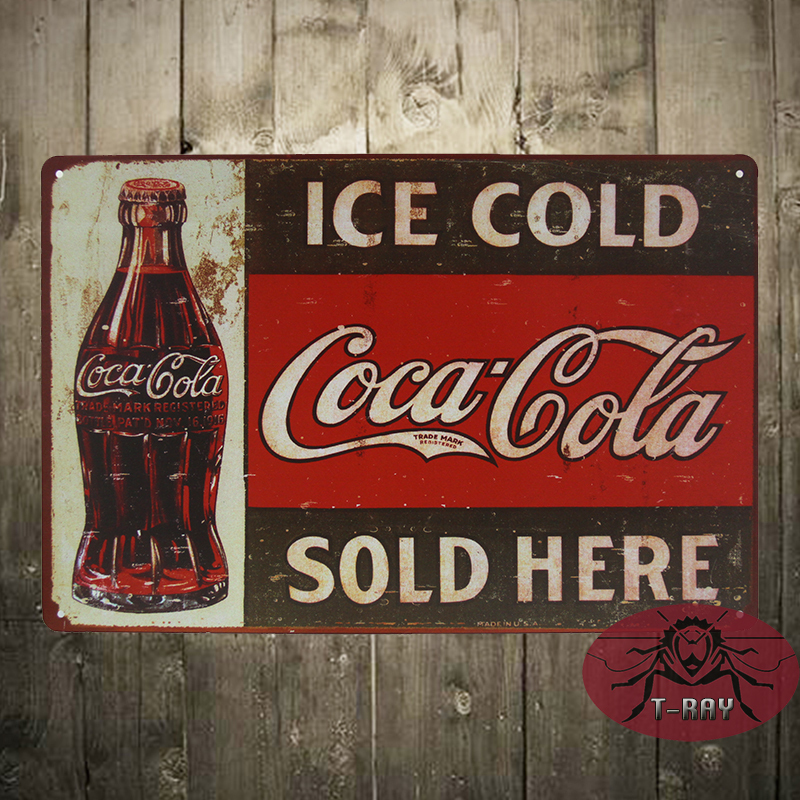 ICE COLD SOLD HERE TIN SIGN Vintage Wall plaque&sign Pub Metal ART Decor F-29 Mix order 20*30 CM(China (Mainland))
