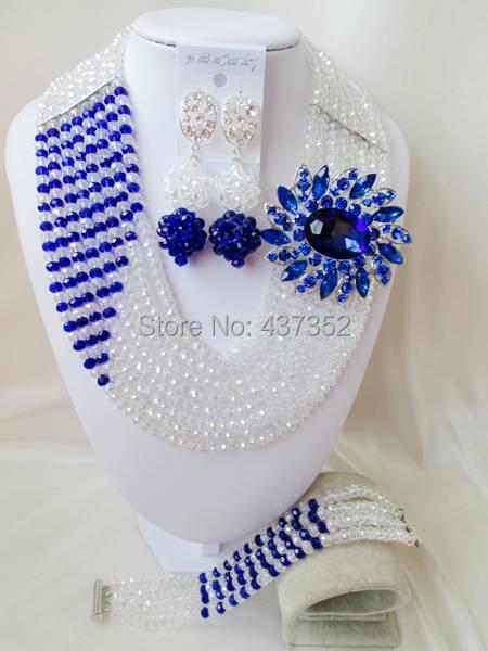 Clear AB Royal Blue Women Stylish Crystal Bead Jewelry Accessories Nigerian wedding african beads jewelry set ABD011<br><br>Aliexpress
