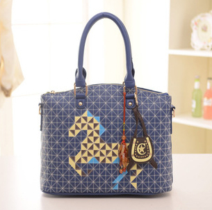 We Only Provide The Best ! Fashion Horse Style PU Leather Lady Tote&Corssbody Double-Use Handbag 2 Colors(China (Mainland))
