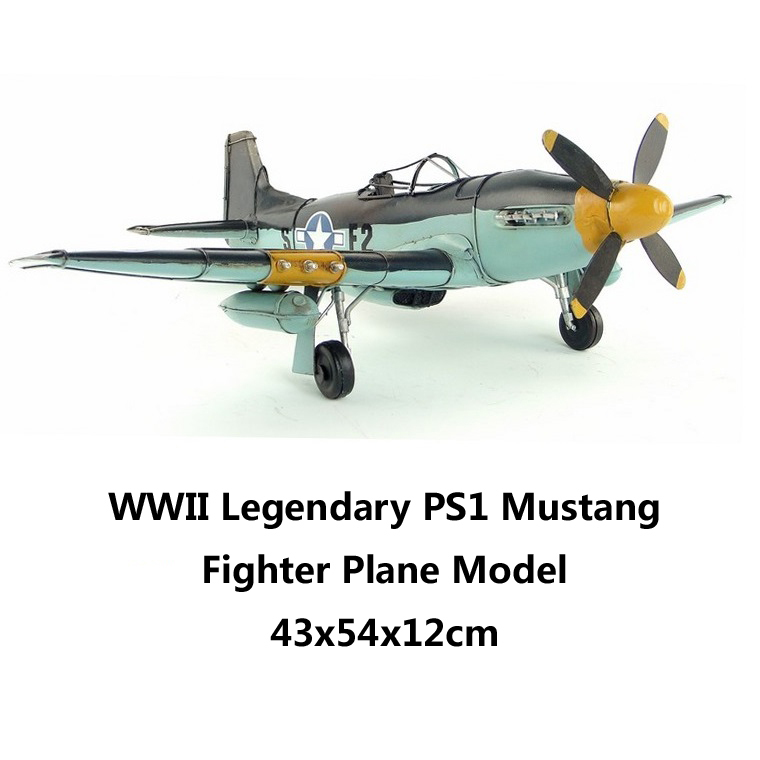WWII Legendary PS1 Mustang Fighter Plane Model Fine Collective Edition handmade vintage airplane metal craft decoration gift(China (Mainland))