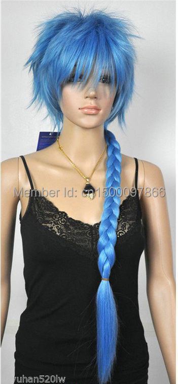 FREE P&P>>>>Hot Sell New Long Light Blue Straight Braid Pigtail Women's Lady's Hair Wig(China (Mainland))