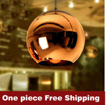 Bulb freely Tom Dixon Space plated glass ball pendant lamp Copper / Red/ Silver/ Golden  cristal colgante lampara(China (Mainland))