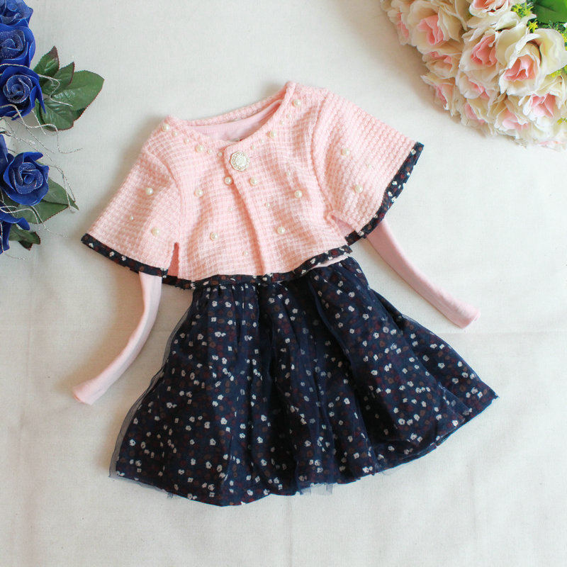 2015 Fall Childrens Wear Girls Dress Pearl Rose Shawl + Long Sleeved Dress 2pcs Set Child Kids Clothing Outfit<br><br>Aliexpress