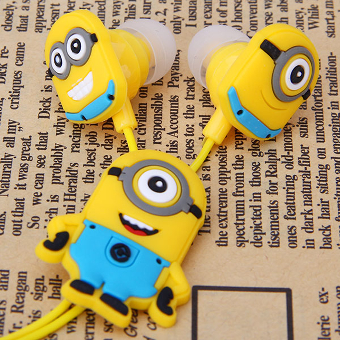 Cute Minions Earphones & Headphones In Ear 3.5mm Wired Earbuds Headsets For your Phone Samsung MP3(China (Mainland))