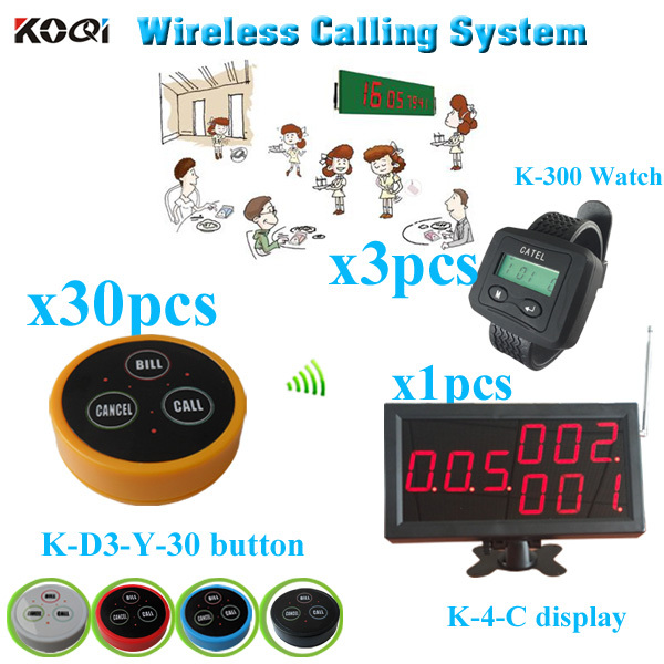 Restaurant Wireless Service paging system with monitor bell button watch pager (1 display + 3 watch +30 table bell button)(China (Mainland))