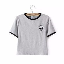 Buy 2017 new Fashion brand Summer Design Print Aliens Short Sleeve Tops Tees Comfortable Female gray women T-shirt Russia for $2.50 in AliExpress store