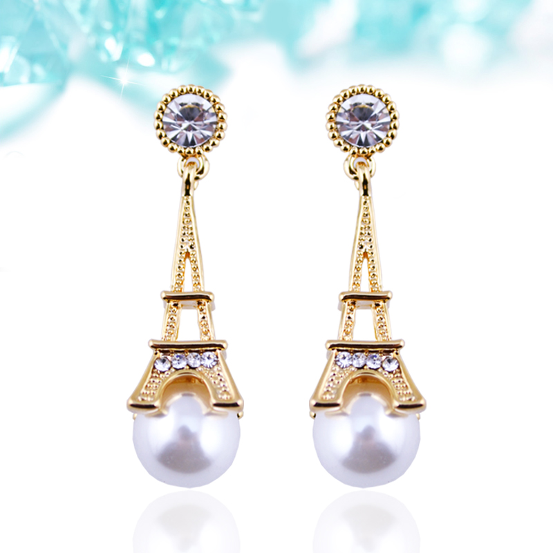 RGP E061 2016 New Arrival Eiffel Tower Pearl Earrings 18K Real Gold Plated High Quality Fine Jewelry Nickel Free Luxury Jewelry(China (Mainland))
