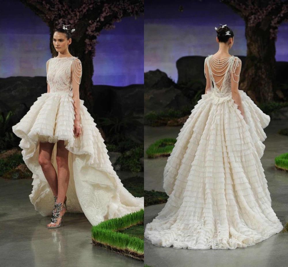 Custom made unique 2016 hi lo wedding dresses layered lace for Hi lo wedding dress