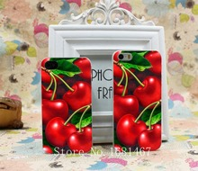 Green cherry fruit of food  cherry animation Hard Clear Skin Case Cover for iPhone 4 4s 5 5s 5g 1PC