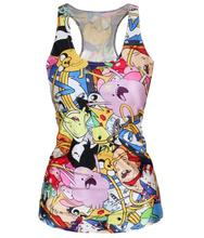 SexeMara Adventure Time Colorful Cartoon Role Printed Fitness Casual Women T-shirt Blusa Camisole Summer Sport Tank Top X-145(China (Mainland))