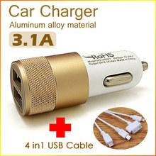Автомобильная зарядка на два разъема USB 2.1A + 1A с кабелем 4 в 1