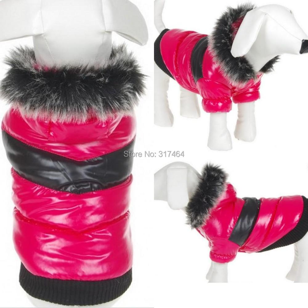 Wholesale Retail NEW 2014 Autumn Winter Warm NEW Dog Jacket Coat Dog Pet Clothes Rose Red C12002 XS S M L XL(China (Mainland))