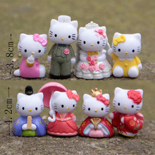 Limited 8PCS Anime Hello Kitty DIY Assembly Toys Wedding Scene Kitty Cartoon Hello Kitty Action Figure Toy Gifts Fan Collection