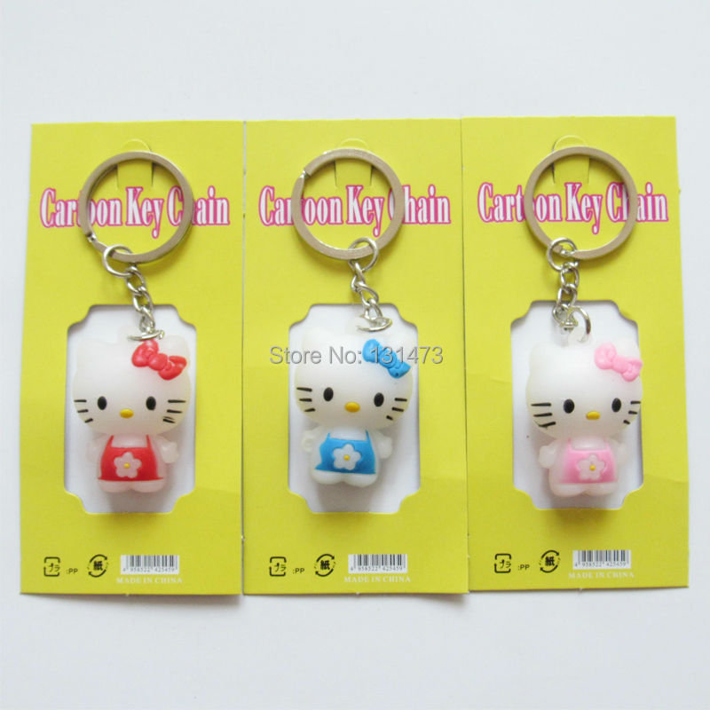 10pcs/lot Creative Gift Cute Cartoon Silicone Hello Kitty Key Chain Keychains For Women /Kids/Girl's Gift(China (Mainland))