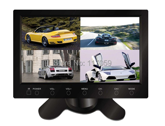 """7"""" Screen with Splitters 4 Way Video Inputs for Four Cameras Touch Buttons Car Security System Stand Alone Monitor Car Monitor(China (Mainland))"""