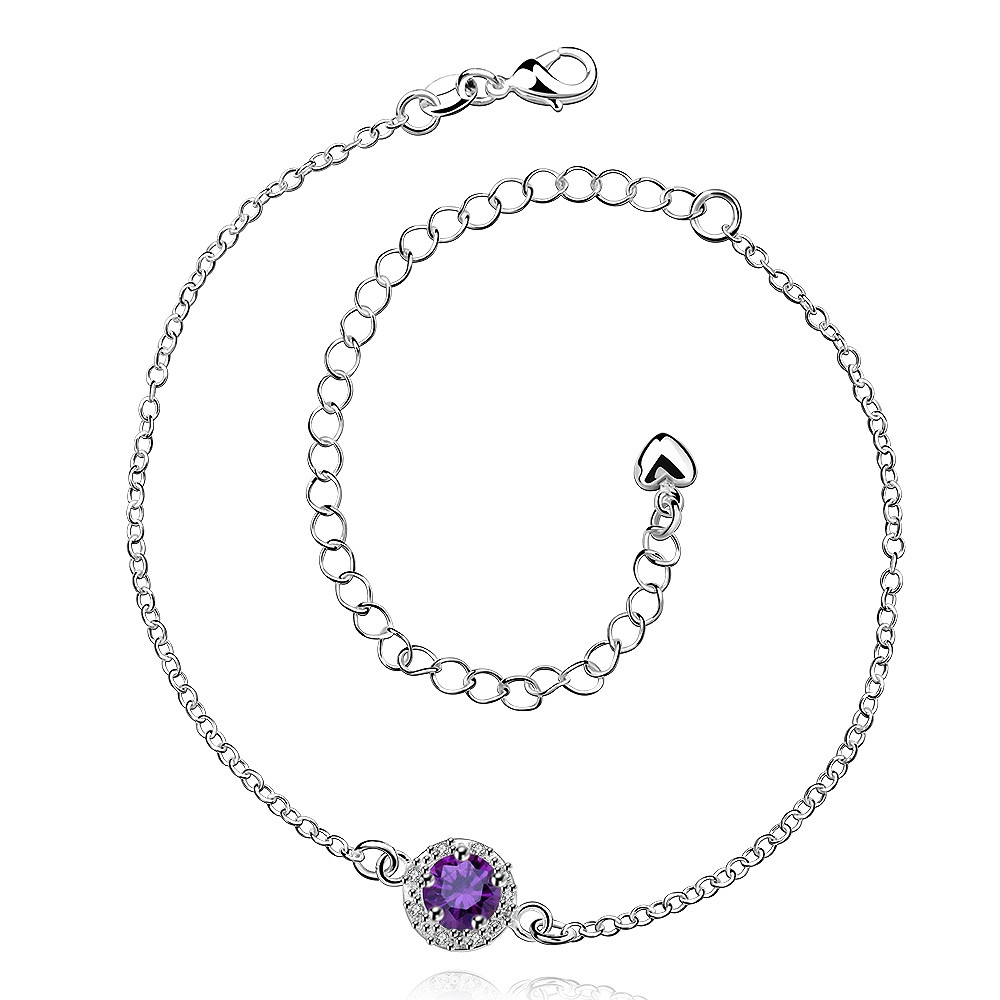 3 Colors! New Jewelry Round Chain Women Square Amethyst Cubic Zircon Pendant Sandals on Ankle Anklet Barefoot
