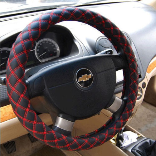 """Red Line New Comfort Grip Black Fiber leather Auto Car Steering Wheel Cover 15""""(China (Mainland))"""