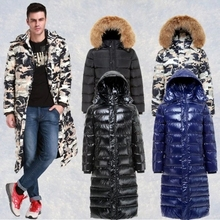 In 2015 on the new man more winter long down jacket long heavy hair collar camouflage shiny feather coat free shipping