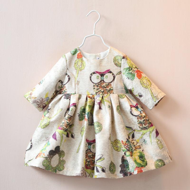 Children's wear 2016 autumn new girl's medium sleeve owl printed dress kids clothes princess dresses(China (Mainland))