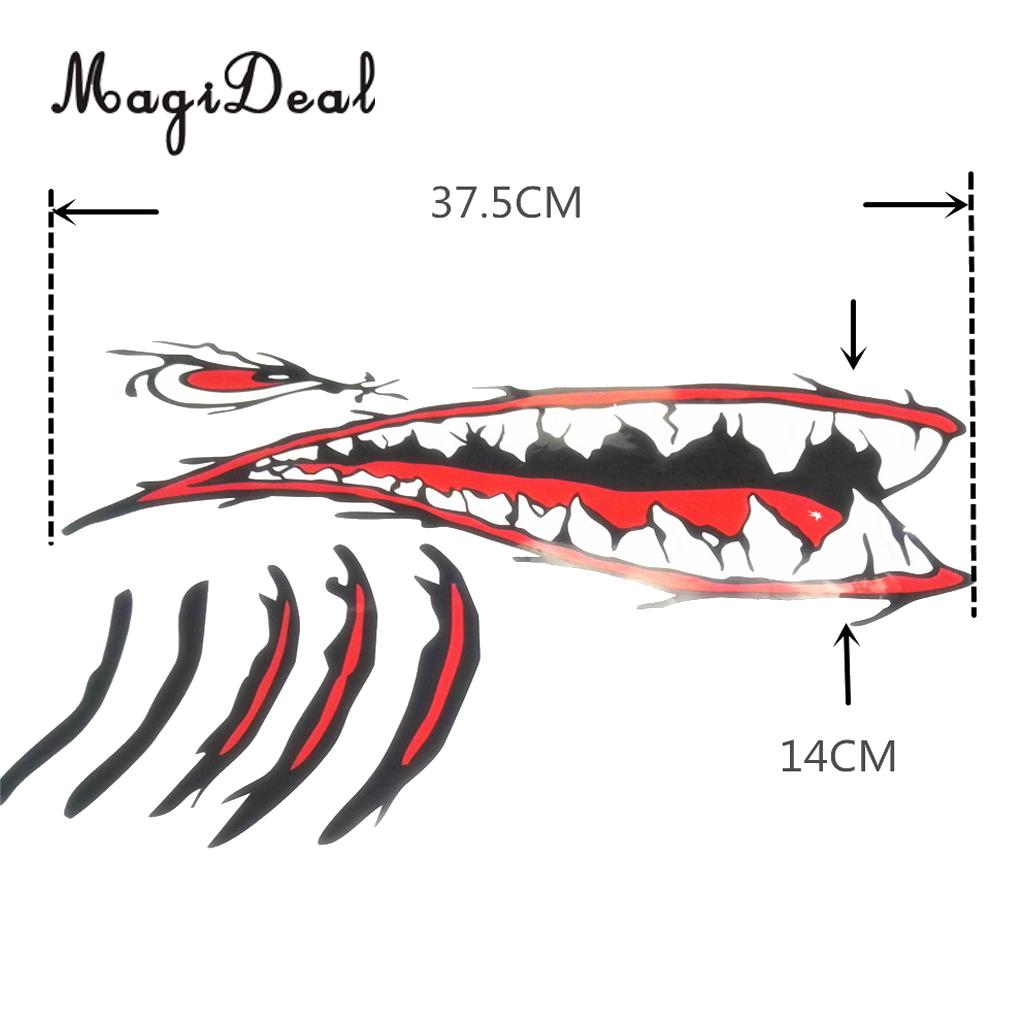 MagiDeal 3Pcs/Set Waterproof Vinyl Shark Teeth Mouth Stickers Decal Boat Graphics & Dolphin Shape Floating Water Buoyant Keyring