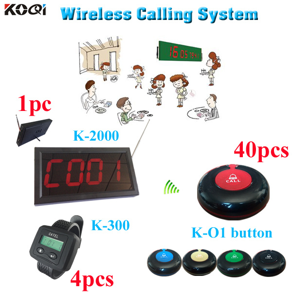 Wireless Calling System Waiter Service Paging System Call Button w 40pcs call button , 4pcs wrist , 1pc display 433Mhz(China (Mainland))