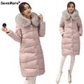 New Fashion Women Down Coat Jacket Medium Length Woman Down Parka with a Rabbit Fur Winter