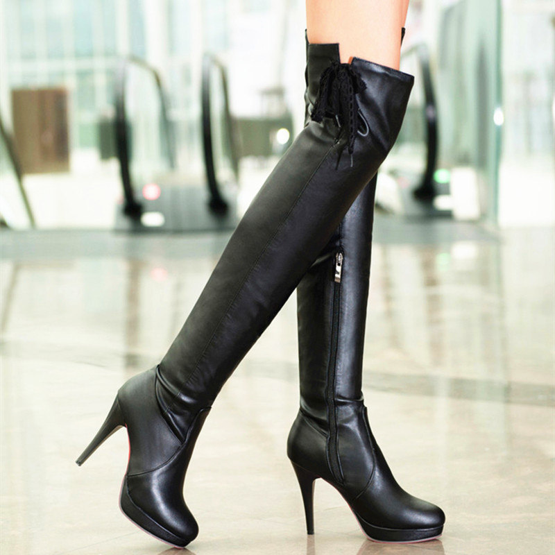 plus size bottom high heels lace up thigh high boots
