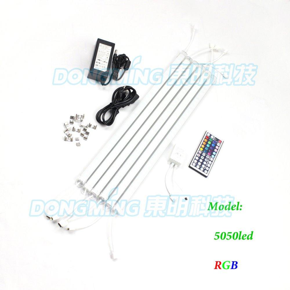 5pcs SMD 5050 RGB led rigid bar light 0.5m 36 leds pc cover 12V 5A power adapter + 44key remote controller tube strip light(China (Mainland))