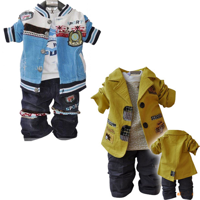 1-3 years old boy set spring fall baby boy clothes high quality yellow coat + T shirt + pant brand kids clothing ropa infantile<br><br>Aliexpress