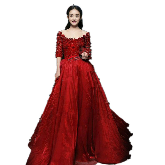 Wine Red Ball Gown Celebrity Dress Quality Lace And Chiffon Long Dress ...